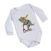 Body para Bebê Branco Manga Longa com Elastano