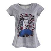 Camiseta gola v para sublimação mescla feminina