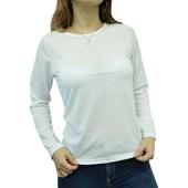 Camiseta Manga Longa Branca Confort Feminina Adulto Poliéster P