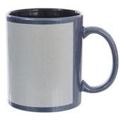 Caneca Cerâmica Azul Perolizada Com Área Branca Interior Preto 325ml (Com 12 unidades)