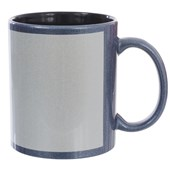 Caneca Cerâmica Azul Perolizada Com Área Branca Interior Preto 325ml (Com 6 unidades)