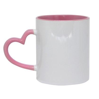 Caneca Cerâmica Branca Com Alça Coração/borda/interior Rosa 325ml