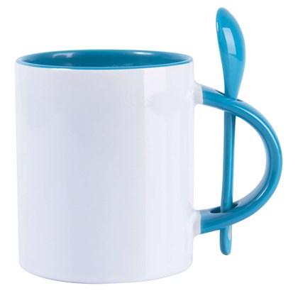 Caneca Cerâmica Branca Com Colher E Interior Azul 325ml
