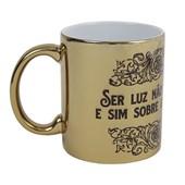 Caneca Ceramica Dourada Metalizado 325ml