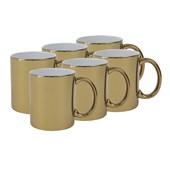 Caneca Cerâmica Dourada Metalizado 325ml  (Com 6 unidades)