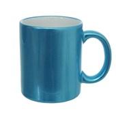 Caneca Cerâmica Metalizada Azul para Sublimação
