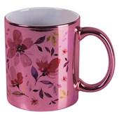 Caneca Cerâmica Para Sublimação Rosa Metalizada 325ml