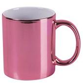Caneca Cerâmica Para Sublimação Rosa Metalizada 325ml (Com 6 unidades)