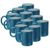 Caneca Cerâmica Perolizada Azul para Sublimação (Com 12 unidades)
