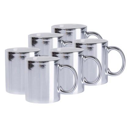 Caneca Cerâmica Prata Metalizado 325ml (Com 6 unidades)
