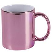 Caneca Cerâmica Rosa Metalizada 325ml (Com 12 unidades)