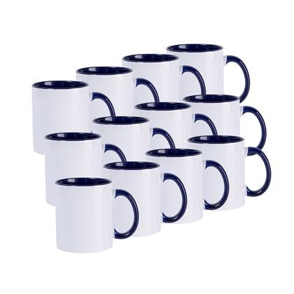 Caneca De Cerâmica Branca Com Interior, Alça e Borda Azul 325ml (Com 12 unidades)