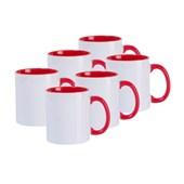 Caneca De Cerâmica Branca Com Interior, Alça e Borda Vermelha 325ml  (Com 6 unidades)