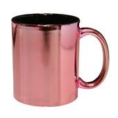 Caneca de Cerâmica Rosa Metalizada com Interiro Preto 325ml (Com 12 unidades)