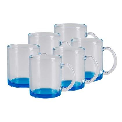 Caneca De Vidro Incolor - Cor Azul Ciano - 300ml (Com 6 unidades)