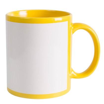 Caneca Para Sublimação De Cerâmica Amarela Com Área Branca 325ml