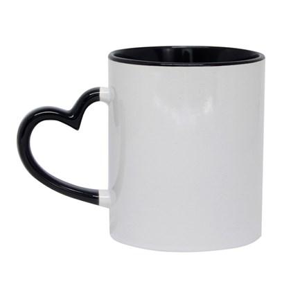 Caneca Para Sublimação De Cerâmica Branca Com Alça Coração/borda/interior Preta 325ml