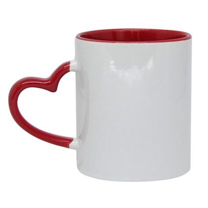 Caneca Para Sublimação De Cerâmica Branca Com Alça de  Coração, borda e interior Vermelho 325ml