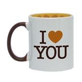 Caneca Para Sublimação De Cerâmica Branca Com Alça Marrom E Interior Café E Chocolate 325ml