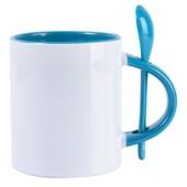 Caneca Para Sublimação De Cerâmica Branca Com Colher E Interior Azul 325ml (Com 12 unidades)