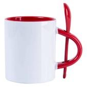 Caneca Para Sublimação De Cerâmica Branca Com Colher E Interior Vermelho 325ml  (Com 6 unidades)