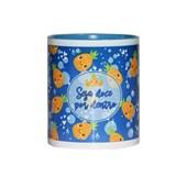 Caneca Para Sublimação De Cerâmica Branca Com Interior, Alça E Borda Azul Light 325ml
