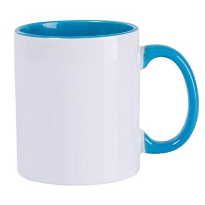 Caneca Para Sublimação De Cerâmica Branca Com Interior, Alça E Borda Azul Light 325ml (minímo 6 pc)