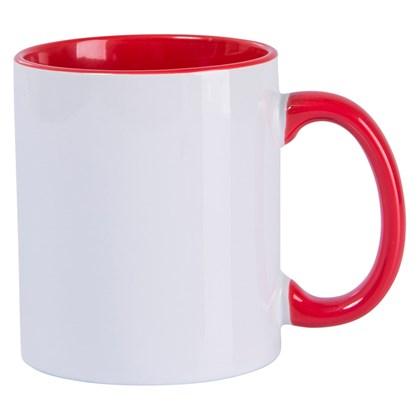 Caneca Para Sublimação De Cerâmica Branca Com Interior, Alça E Borda Vermelha 325ml (c/ 6 pc)