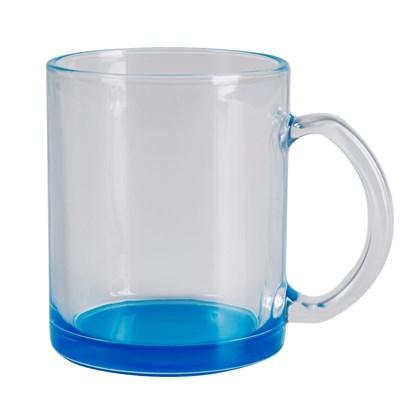 Caneca Para Sublimação De Vidro Incolor - Cor Azul Ciano - 300ml (c/ 6 pc)