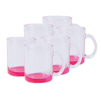 Caneca Para Sublimação De Vidro Incolor - Cor Rosa  (Com 6 unidades)