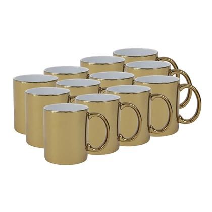 Caneca Para Sublimação Dourada Metalizado 325ml  (Com 12 unidades)