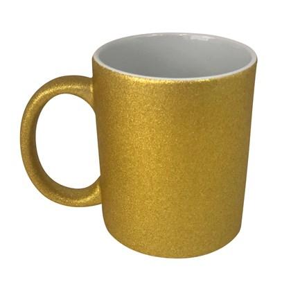 Caneca Para Sublimação Glitter Dourada 325ml