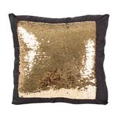 Capa para Almofada Preta com Lantejoulas Prata/Dourada