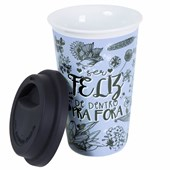 Copo Cerâmica Térmico Azul Com Tampa Silicone Preta 300ml