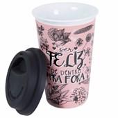Copo Cerâmica Térmico Rosa Com Tampa Silicone Preta 300ml