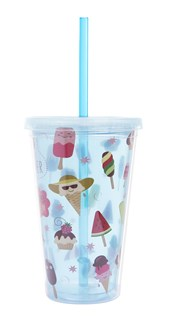 Copo Com Canudo Ice Cream 500ml