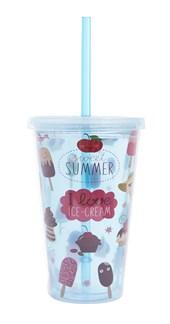 Copo Com Canudo Ice Cream 500ml