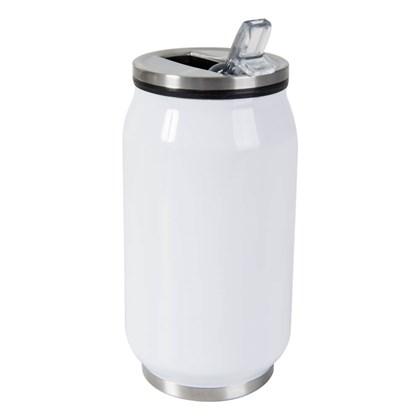Lata Termica Para Sublimação Branco De Metal Com Tampa 300ml