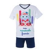 Pijama Manga Curta Azul Marinho Masc Infantil Poliester 4